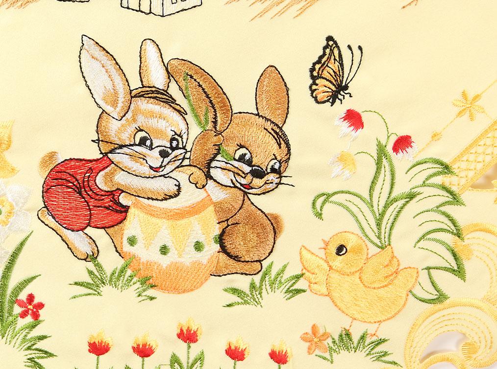 P ques lapin fleurs tulipes broderie chemin de table nappe - Chemin de table pour paques ...