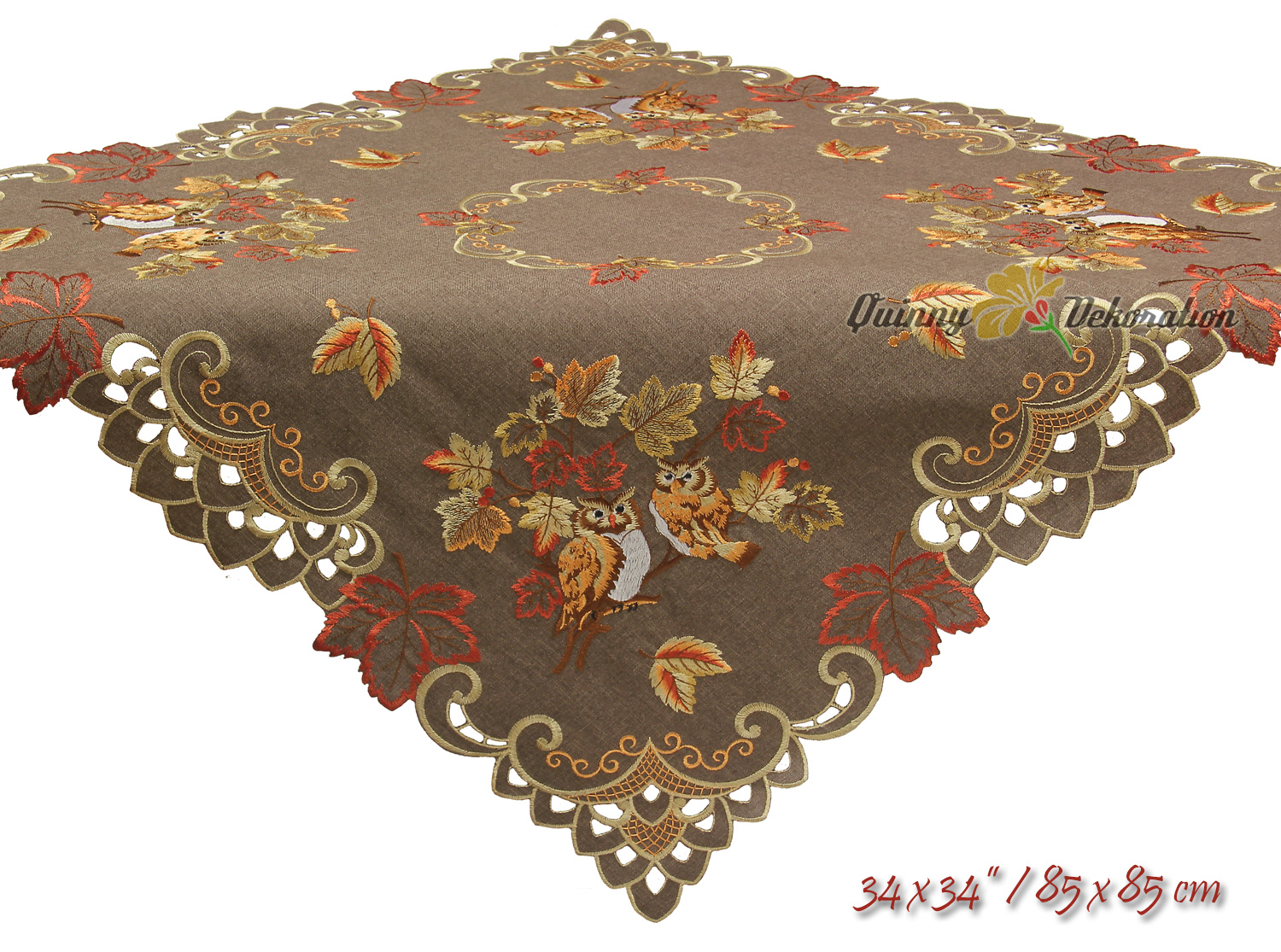 Owl in fall tablecloths runner doily linen look brown