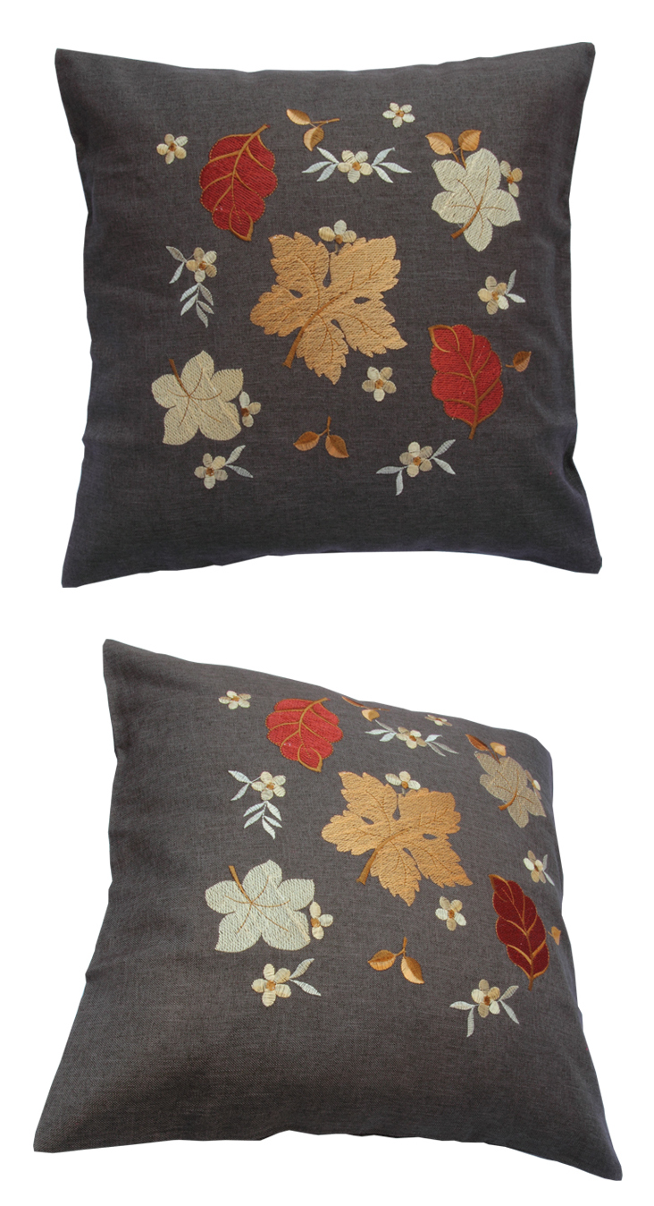 kissenh lle 40x40 cm leinen optik anthrazit grau sofa kissen bezug herbst blatt. Black Bedroom Furniture Sets. Home Design Ideas