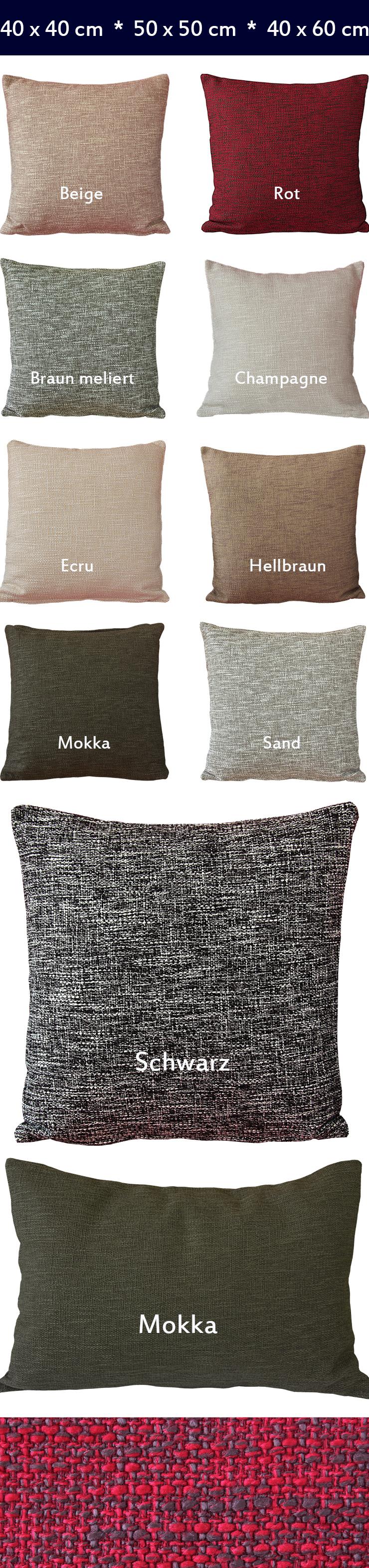 hochwertige kissenh lle leinenoptik 40x40 50x50 40x60 cm. Black Bedroom Furniture Sets. Home Design Ideas